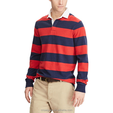 Custom slim fit fashion men distinctive stripe long sleeve polo shirt