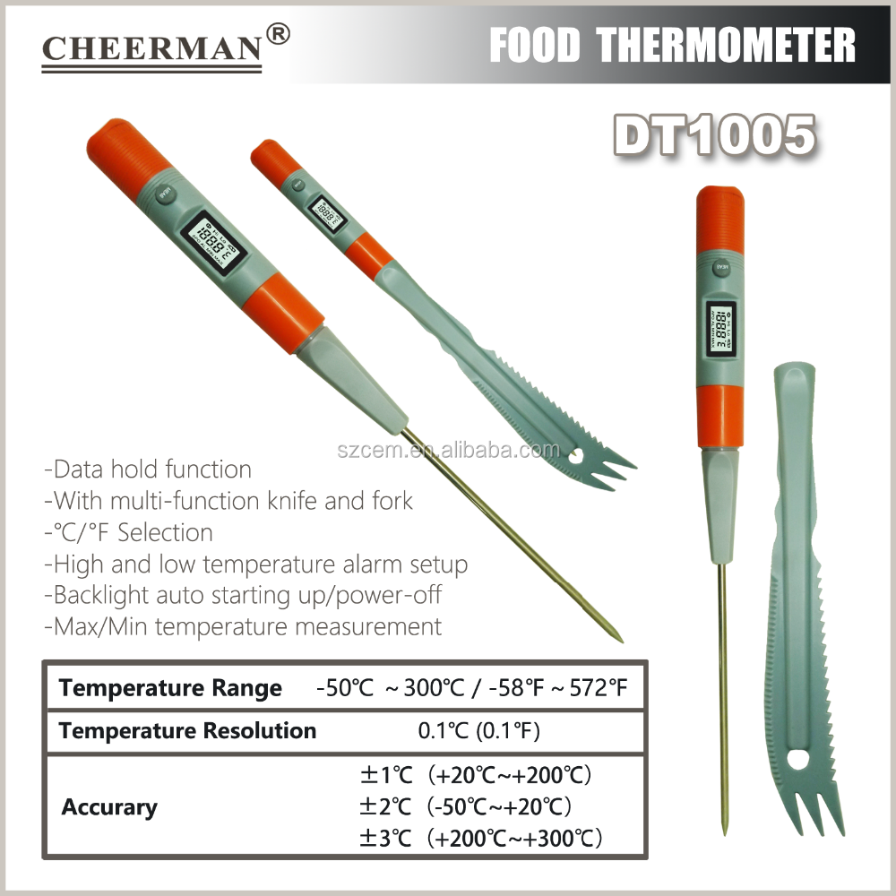 Electronic Digital LCD Probe Food Meat Cooking Kitchen Probe Thermometer Sensor BBQ DT1005(-50-300 Degree)