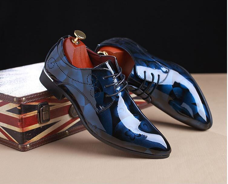 New design fashion genuine leather shoes men printed upper men shoes dress 2017