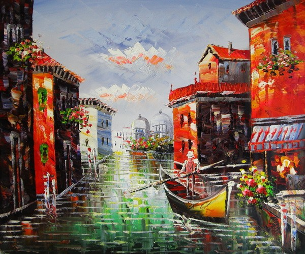 new handmade venice boatman art canvas oil painting 50*60cm JH-332 wholesale cheapest factory direct