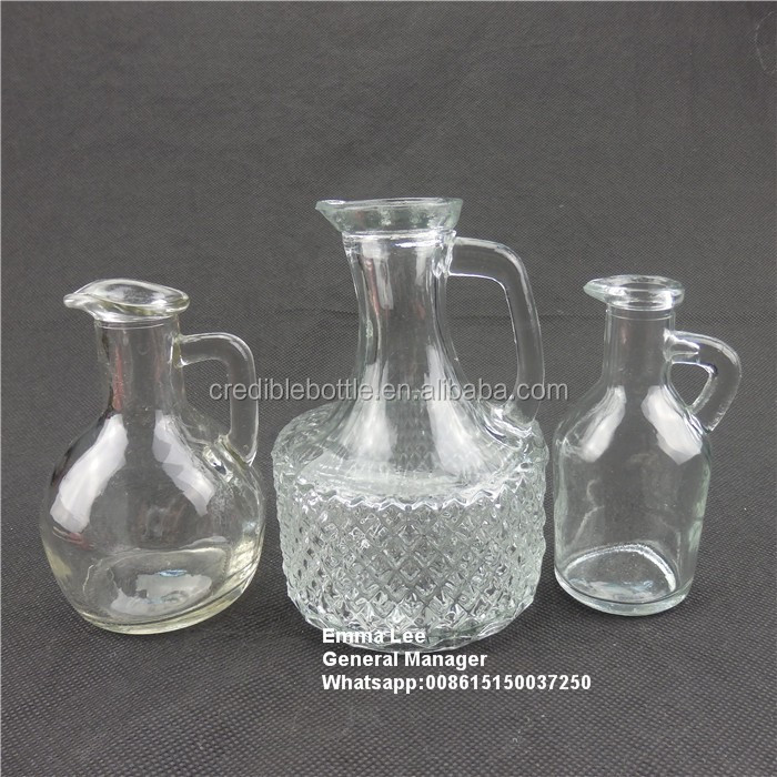 oil glass bottles with handle glass jugs