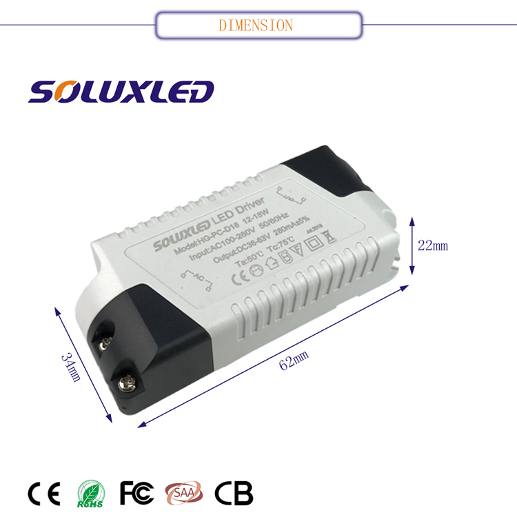 12-18W 280mA Single Output Wide Range Constant Current Type Indoor Lighting LED Driver