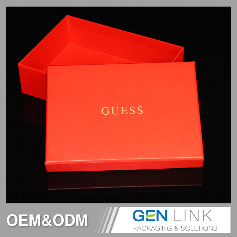 China Factory small gift card box paper PVC insert with red velvet laminated