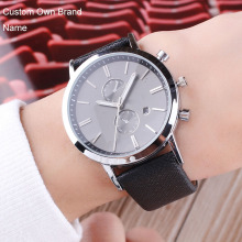 Wholesale Business Blue Brown Men's Watch Custom Logo Wristwatch