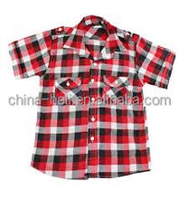 Boy's plaid shirt with short sleeves
