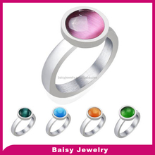 Latest designs hot sale Opal women stainless steel ring wholesale