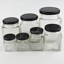 Wholesale hermetic transparent glass storage jar air tight jar of jam pot food pickles six arrises glass bottles of honey