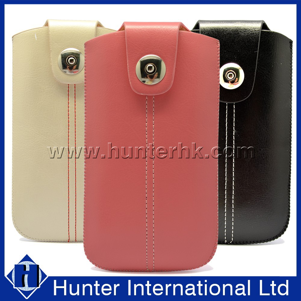 New Design PU Leather With Button For iPhone5 Pull Up Pouch
