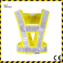 100% polyester 120g fabric yellow led safety flashing lights safety cycling reflective vest