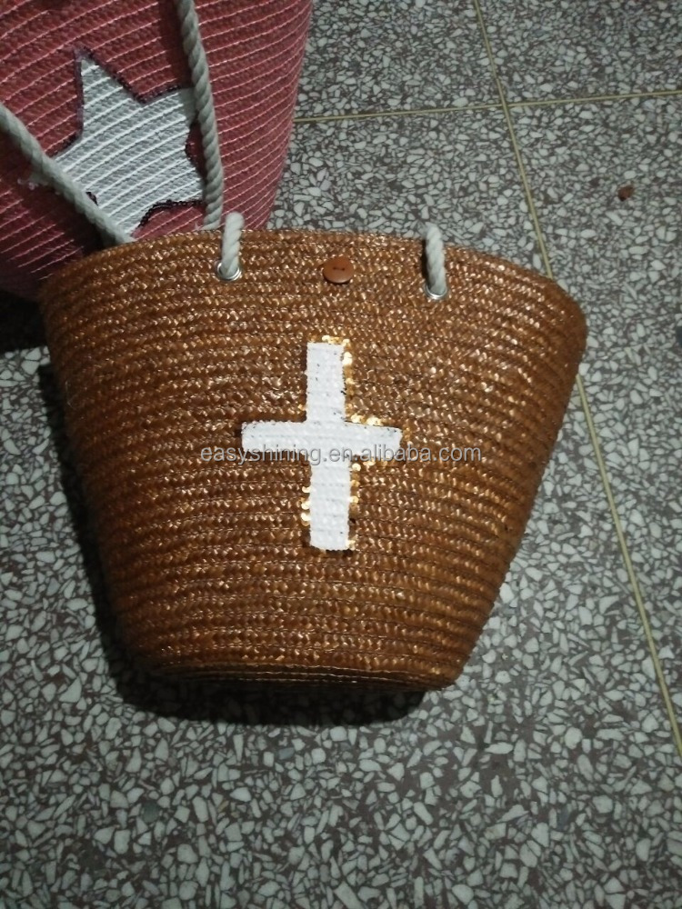Wholesale Brown Wheat straw beach bag with cross pattern ESL0020