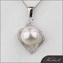 Elegant white AAAA button 925 sterling silver perle pendant