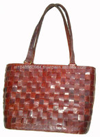 Vintage Leather Ladies Tote Bags With Mesh Pattern