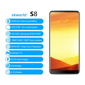 2017 New Arrival original mobile phone VKworld S8, 4GB+64GB unlocked 4G 3G smart android phone cell mobile phone