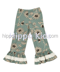 Cheap wholesale children clothing usa girls icing ruffle leggings aqua floral pants
