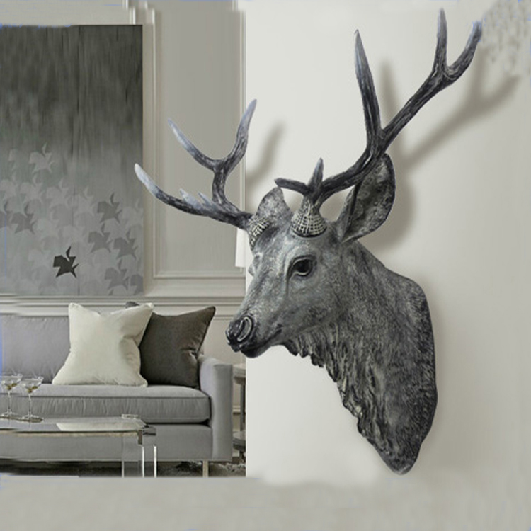 Printing Logo Resin Wall Animal Head Sculpture