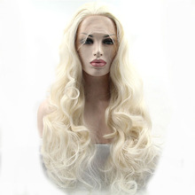 High Quality Long Curly Wave Blonde Color Synthetic Hair Lace Front Wigs for White Women