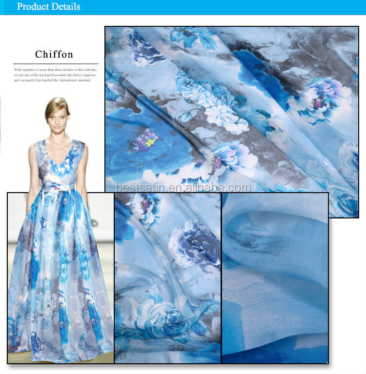 High quality Hellosilk printed silk chiffon fabric with flower pattern manufacturers