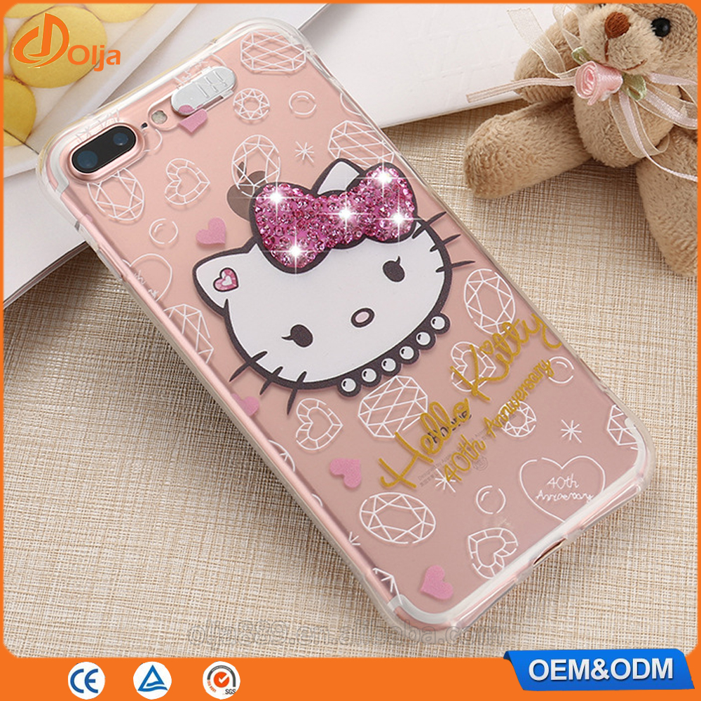 2017 incoming call flash wholesale uk hello kitty diamond case for iphone 7 for iphone 7 case clear