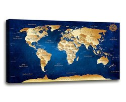 Wall Art Vintage World Map Abstract Painting Stretched Canvas Decoration Ready to Hang