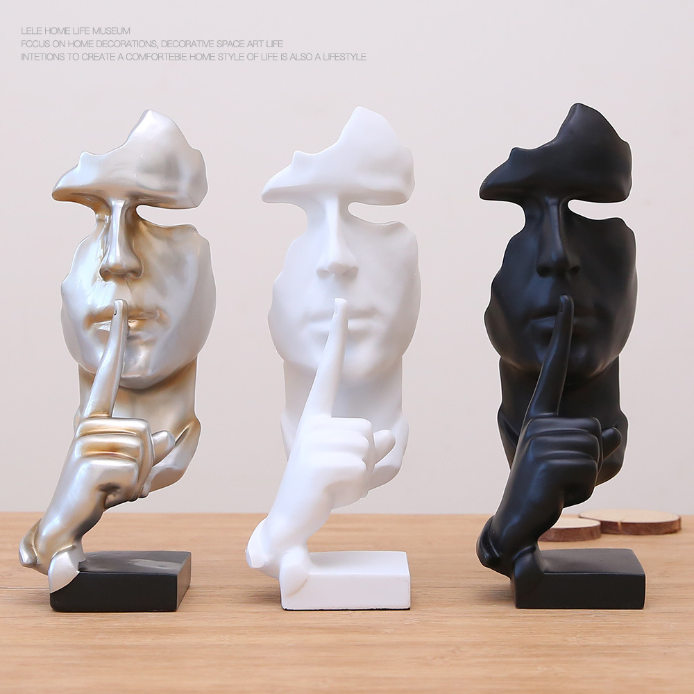 hotsale black white head gift abstract art furnishing livingroom resin craft products home <strong>decoration</strong>