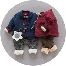 S65556A Three Piece Baby Boys Spring Autumn Full Suits Thickening Winter Koreans Style Infant Clothes Set