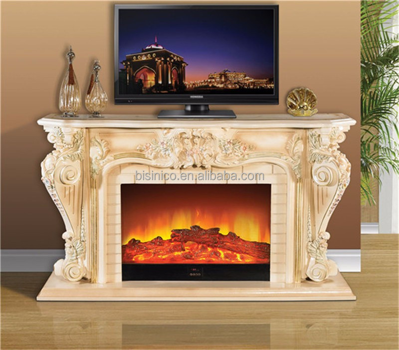 Empire French Roroco Style TV Stand Electric Stove Heater Fireplace, Floral Hand Painted Decorative Electric Fireplace