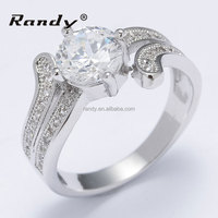 Latest Indian Style Plated Silver Prong Setting CZ Engagement Rings