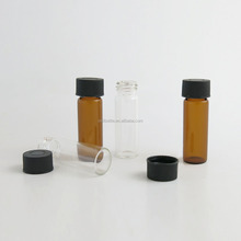 Small 4ML amber/clear glass bottle with plastic screw cap test use empty glass tubes