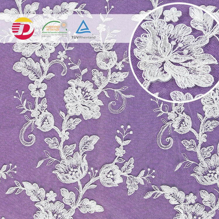 Factory high quality white cheap wedding african guipure 3D embroidery nice lace fabric