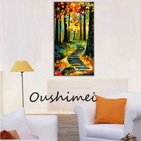 Orange yellow autumn leaves clean ladder streets covered with yellow leaves paintings high quality oil painting in canvas