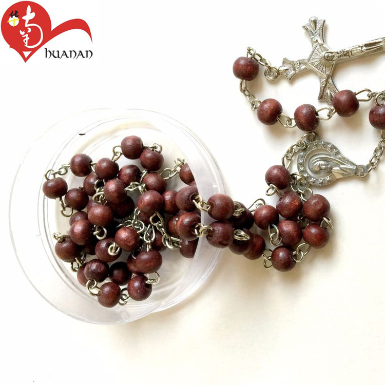 Custom manufacture wholesale african waterfall red wood bead prayer boxes rosary necklace