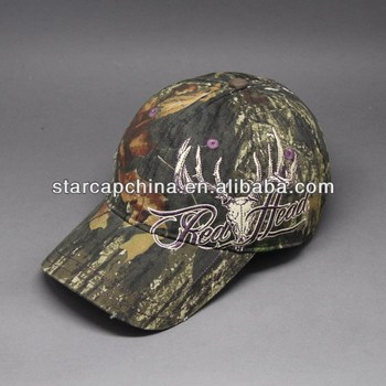 FASHION EMBROIDERY WASHED CAMO BASEBALL CAPS