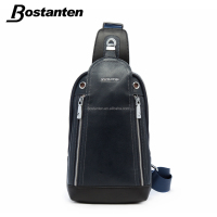 sports genuine leather durable men running belt chest pack sling backpack