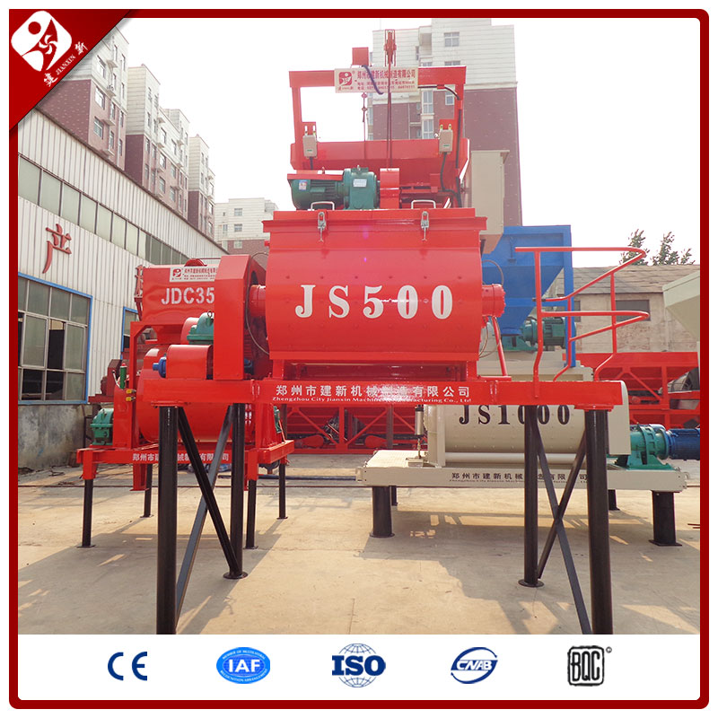 New Designed Stationary Self Loading Automatic Hot Seller Electric Auto Double Twin Shaft Cement Concrete Mixer Js500