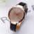 2015 cleverish fashion student PU leather band with damond lady watch