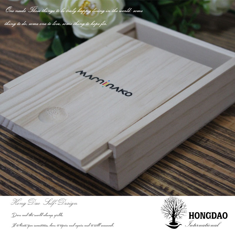 HONGDAO wood photo usb box, unfinished wooden box with custom logo