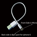 TPE material dual side USB cable for iphone 6 and android phones 20cm