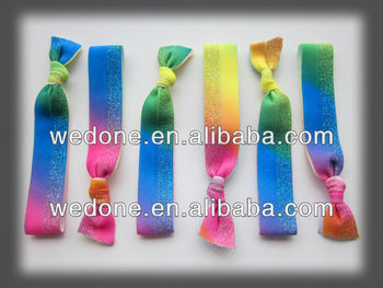 rainbow metallic elastic hair tie