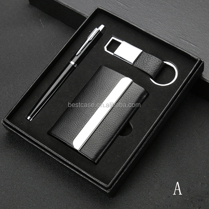 Office Stationery Pen Keychain Business Gift Set with Card Holder Men's Wallet, Souvenir Items