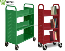 Strong and durable school equipment movable steel library book trolley
