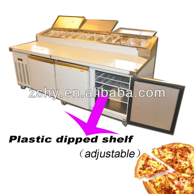 stainless steel pizza preparation bench fridge with 3doors