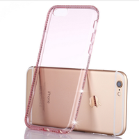 Hot Selling Diamond Sparkling Ultra thin Clear TPU Phone Case For iPhone 6 6S Custom, Cover Case for iphone 7 Diamond