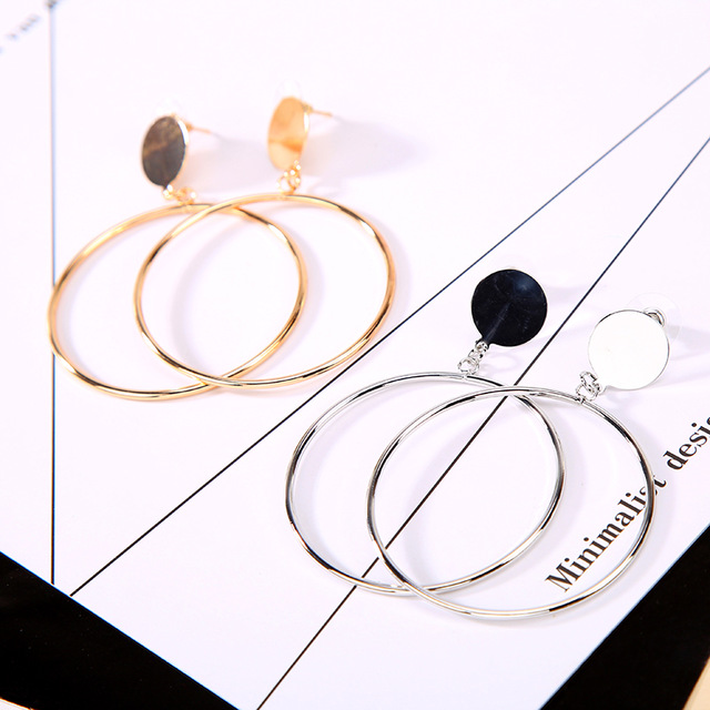 Smooth Round Sequins Big Circle Hoop Earrings for Women Jewelry Accessories Free Shipping