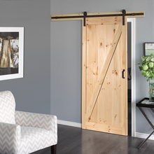 Rustic Style Unfinished Knotty Alder Solid Wooden Barn Door with Hardware