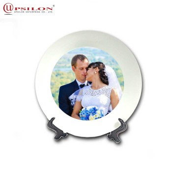 7.5Inch wholesale White custom Printed Ceramic plate For Souvenir
