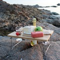 Portable and Folding Wine and Snack Table for Picnic Outdoor on the Beach Park or Indoor Bed
