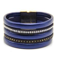 Fashion Soft PU Leather Bracelet with Crystal Beads with UV Plated Magnetic Claps Color not fade Bracelets
