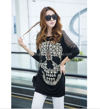 OEM New Wholesale Manufacturing Women Black O-neck Skull Printed Hollow Out Sleeve Top Clothes Loose Elongated Black T Shirt