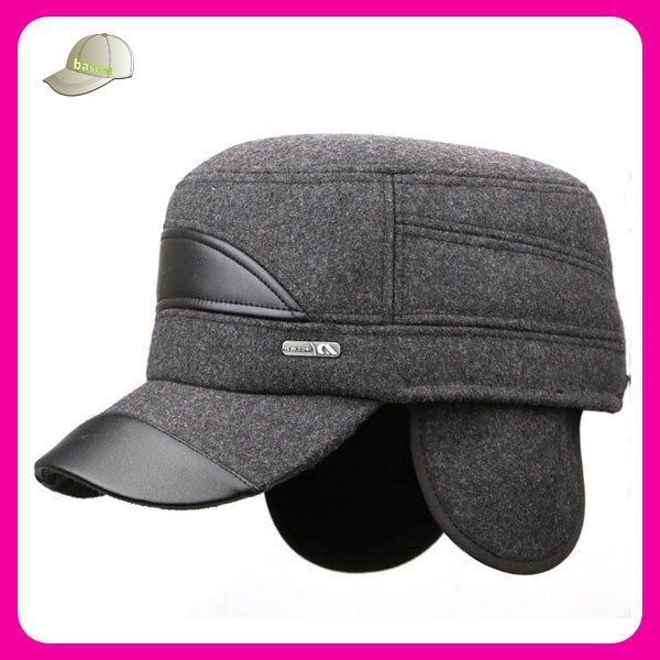 custom made high quality flat brim costume sport caps 100% wool military caps with ear flap