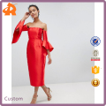 OEM plain red fashion dress,satin off shoulder girls sexy night dress with flare sleeve